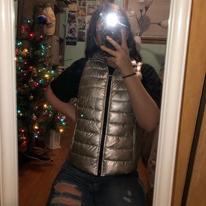 Silver Puffer Vest